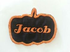 Halloween Pumpkin Custom Embroidered Name Patch Iron On Fabric Label