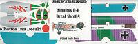 Albatros D-V - Dt. Jäger 1. Weltkrieg - Decal Set - Roter Blitz Jasta 5 - 1:72