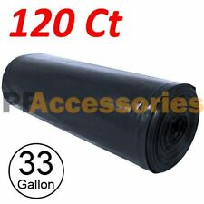 120 Large 33 Gallon Strong Commercial Trash Bag Heavy Garbage Duty Yard (Black)