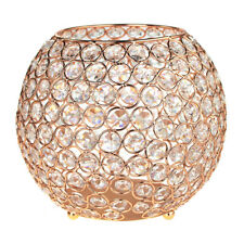 Crystal Ball Candle Holder Metal Centerpiece, Gold, 8-Inch