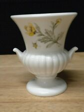 Wedgwood White Urn Vase With Yellow Flowers Excellent Pre-Owned Condition