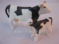 PLAYMOBIL FERME/dollshouse EXTRA animaux: Noir/Blanc Vache & Veau nouveau