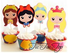 12c Disney Princess Cupcake Topper + Wrapper. Party Supplies Lolly Loot Bag