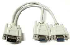 1 PC TO 2 VGA SVGA MONITOR Y SPLITTER CABLE 15 PIN 1 VGA Male to 2 VGA Female