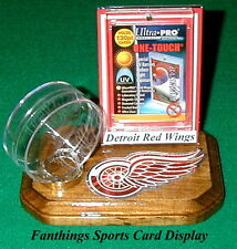 Detroit Red Wings NHL Sports Card Display Hockey Puck Holder Logo Gift