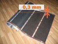Fußbodenheizung Infrarot Heizfolie -für Laminat, Fliesen - 1m, 110W/m (=220W/m2)