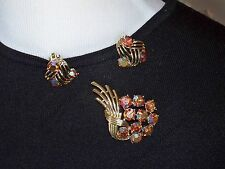 KRAMER Aurora Borealis Rhinestone Pin & Earring Set = Demi Parure