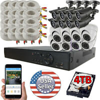 Sikker 16 CH Channel HD DVR 1080P 2 Megapixel Security Camera System Package 4TB