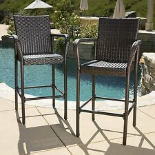 Kinbor Set of 2 Wicker Bar Stool High Chairs Outdoor Pool w/ Seat Cushions,Brown