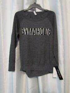NWT Ideology GYMAHOLIC Open Back Graphic LS Heather Charcoal S Org $39.50