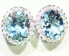3.27CT 14K Solid Gold Natural Aquamarine Round Cut Diamond Engagement Earrings
