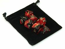 New Chessex Polyhedral Dice Set with Bag Black Red Gemini 7 Piece Set DnD RPG