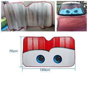 Red Cartoon Eye Pattern Foil Car Window Windscreen Sun Shade Sun Visor 130X70cm