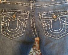 WOMEN'S TRUE RELIGION JOEY SUPER T BLUE DENIM STRAIGHT LEG JEANS, SIZE 24, LOOK!