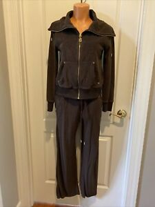 MICHAEL KORS Brown French Terry Track Suit Jacket Pants Petite Small PS SP $175