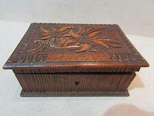 ancienne boite coffret bois sculpté souvenir de geneve edelweiss