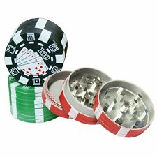 New Casino Poker Chip Tobacco Herb Spice Metal Grinder, 3 Parts,  2 Inches, 1 pc