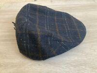 New John Lewis Mens Check Flat Cap Hat, Navy Blue, Large / X-Large, RRP £30