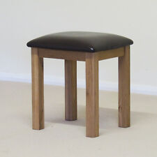 Roseland Oak Stool / Dressing Table Stool / Solid Oak with Faux Leather Seat pad