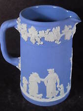 "Wedgwood White On Blue Pitcher 4 1/2"" Greek Classical Scenes & Figures"