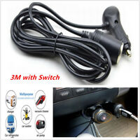 3M Wire 12V Male to Female Car Cigarette Lighter w/ light switch Extension Cord