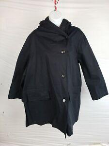 $552 Pret Pour Partir Tatiana Women's Button Hooded Blue Black 100% Cotton 42