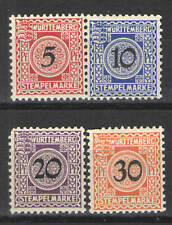 German States - Wurttemberg 1911 Tax/Fiscal Stamps MH VG - Scarce tax/Fiscal