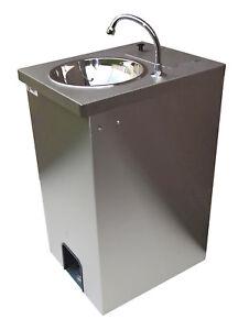 Electric Portable Sink Hot Hand Wash, St.Steel cupboard, 25 lts Foot Pump Op.