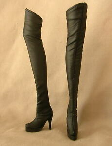 CHER Barbie Fashion Black Faux Leather Knee Boots for Model Muse Silkstone Dolls