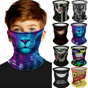 7-14Y Kids Face Mask Halloween 3D Biker Tube Bandana Balaclava Snood Scarf Neck