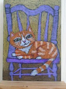 ACEO Cats Ollietuxedo Handmade Original ACEO Orange Tabby in Lavender Chair ATC