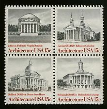 #1782a 15c American Architecture, Se-Tenant Block, Mint ANY 4=