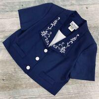 Peri Petites Vintage Blazer Top Size 10 Button Down Collared short sleeve