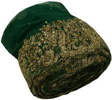 Vintage Sari Border Indian Craft Trim Lace Hand Beaded Green Ribbon Wrap