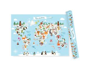 Kinderweltkarte mit Tieren, XXL Kinderposter unserer Erde, Kinder Atlas Poster
