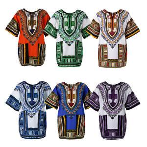 Unisex African Embroidery Prints Kleid Baumwolle Dashiki Shirt Hippie Tshirt