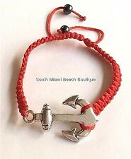 Silver Plated Boat Anchor Red Rope Bracelet Nautical Shamballa Ship Island USA