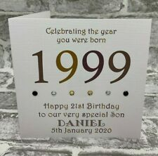 """21st 1999 Year You Were Born Birthday 6"""" Card Personalised Son Nephew Brother"""