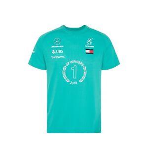 Mercedes AMG F1 Team Lewis Hamilton Race WINNER T Shirt Tee Green Mens *SALE*