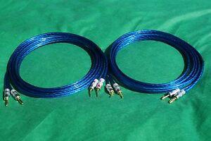 Samurai TRUE 10 Gauge Wire Speaker Cable Banana to Angle Pin Plugs Pair, 15 Ft.