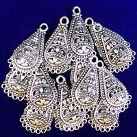 12Pcs Carved Tibetan silver Teardrop Pendant Bead 30x16x4mm  dy40pj