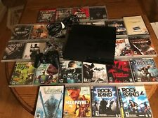 Sony PlayStation 3 Slim 160GB Bundle Lot + 28 Games + Controllers Cords Console