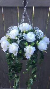 Beautiful Ivory Roses Trailing Artifical Hanging Basket