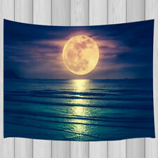 Blue Sea Rises Bright Moon Tapestry Polyester Wall Hanging Bedroom Dorm Decor
