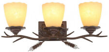 Vanity Light Rustic 3-Head Weathered Spruce Wall Mounted Fixture Glass Shades