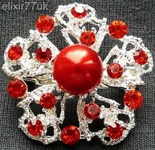 NEW SILVER FLOWER RED CRYSTAL FAUX PEARL BROOCH UK WEDDING PARTY FAB GIFT BROACH