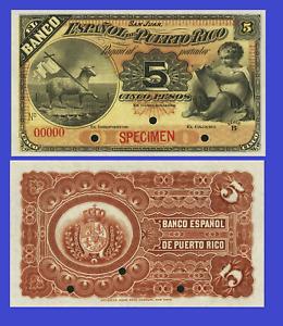 Puerto Rico 5 pesos 1895 UNC - Reproduction