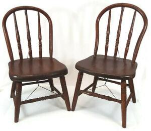 Lot of 2 Vintage Childs Chair Wood Bow Back Antique Primitive NICE