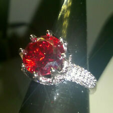 LARGE STATEMENT RUBY RED GEM SOLITAIRE CROWN SETTING RING SIZE P 1/2. SILVER