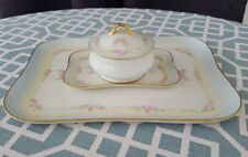 Antique 4 Pc.(trays,jar,lid) Porcelain Limoges Roses w/ VinesbVanity/Dresser Set